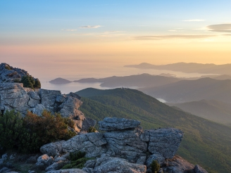 Portoferraio aufgenommen von den Bergen rund um den Monte Capanne